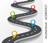 vector 3d road infographic... | Shutterstock .eps vector #622865417