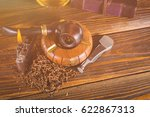 smoking pipe and notebook on... | Shutterstock . vector #622867313