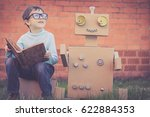 one little boy reading to ... | Shutterstock . vector #622884353