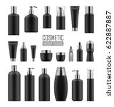 set of black cosmetic packages... | Shutterstock . vector #622887887