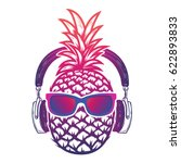 pineapple with sunglases and... | Shutterstock .eps vector #622893833