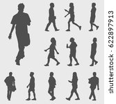 walk silhouettes vector | Shutterstock .eps vector #622897913