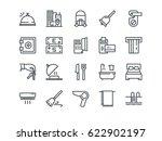 hotel. set of outline vector... | Shutterstock .eps vector #622902197
