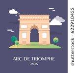 famous landmark arc de triomphe ... | Shutterstock .eps vector #622910423