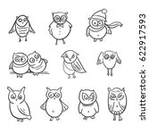 set of  cute funny owls. doodle ... | Shutterstock .eps vector #622917593