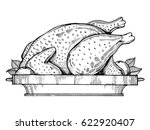 fried chicken engraving vector...