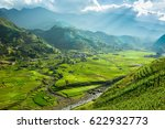 view of mountain with rice... | Shutterstock . vector #622932773