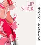 lipstick and smears lipstick....   Shutterstock .eps vector #622958333