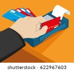 payment by credit card... | Shutterstock .eps vector #622967603