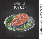 chalk drawing menu design. fish ... | Shutterstock .eps vector #622977227