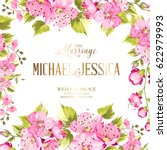 wedding invitation card with... | Shutterstock .eps vector #622979993