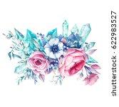 watercolor bouquet of flowers... | Shutterstock . vector #622983527