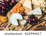 assorted cheeses with grapes... | Shutterstock . vector #622994417