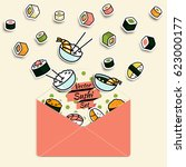 vector meal rolls sushi set in... | Shutterstock .eps vector #623000177