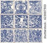indigo blue flower azulejos... | Shutterstock .eps vector #623007503