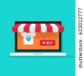 online shop illustration  flat... | Shutterstock . vector #623012777