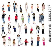 diverse of young children... | Shutterstock . vector #623015747