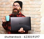bearded man  long beard. brutal ... | Shutterstock . vector #623019197