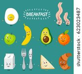 set of cartoon food  breakfast. ...   Shutterstock .eps vector #623023487
