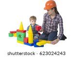 kid and mother play with toys... | Shutterstock . vector #623024243