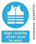 blue mandatory sign isolated on ... | Shutterstock .eps vector #623035703