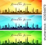 set of ramadan kareem banners | Shutterstock . vector #623036873