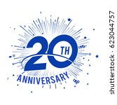 20th anniversary fireworks and... | Shutterstock .eps vector #623044757
