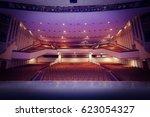 red velvet seats for spectators ... | Shutterstock . vector #623054327