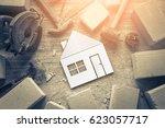 construction tool concrete... | Shutterstock . vector #623057717