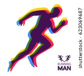 silhouette of a running man.... | Shutterstock .eps vector #623069687