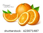 oranges with leaves. vector...   Shutterstock .eps vector #623071487
