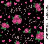 abstract cute heart pattern...   Shutterstock .eps vector #623089253