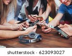 top view hands circle using... | Shutterstock . vector #623093027