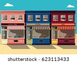 vector  small townscape  flat... | Shutterstock .eps vector #623113433