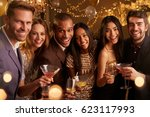 portrait of friends with drinks ... | Shutterstock . vector #623117993