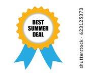 best summer deal badge  blue... | Shutterstock . vector #623125373