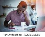 sad african american man...   Shutterstock . vector #623126687