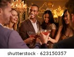 group of friends with drinks... | Shutterstock . vector #623150357