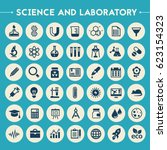 science and laboratory icon set | Shutterstock .eps vector #623154323