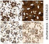 vector seamless pattern flowers ... | Shutterstock .eps vector #623156213