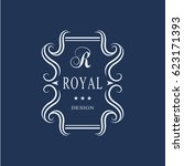 line art monogram luxury design ... | Shutterstock .eps vector #623171393