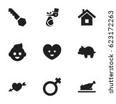 set of 9 editable family icons. ...