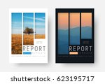 set of white and black report... | Shutterstock .eps vector #623195717