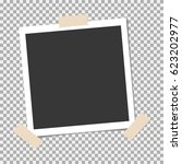 photo frame with sticky tape on ... | Shutterstock .eps vector #623202977