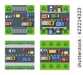traffic transportation set of...   Shutterstock . vector #623214323