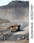 coal transportation by truck ... | Shutterstock . vector #623227487