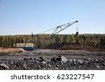heavy organge excavator with... | Shutterstock . vector #623227547