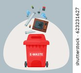 recycling garbage elements... | Shutterstock .eps vector #623231627
