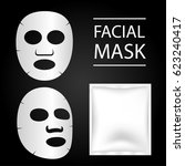facial mask and blank package... | Shutterstock .eps vector #623240417