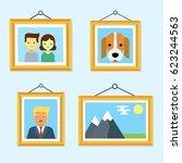 pictures in  wooden frames... | Shutterstock .eps vector #623244563